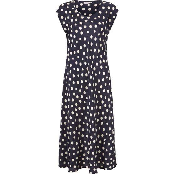 8e860fbcaed6 Masai Unni kjole med polkaprikker. Marineblå.